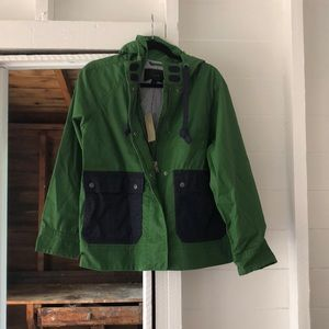 J. Crew Colorblocked Waxed hooded jacket